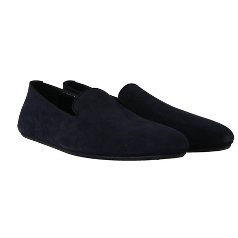 Dolce & Gabbana Navy Blue Suede Slides Flats Loafers