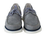 Dolce & Gabbana Gray White Leather Casual Loafers - Men - Shoes - Loafers Drivers - Dolce & Gabbana | Gethuda Fashion