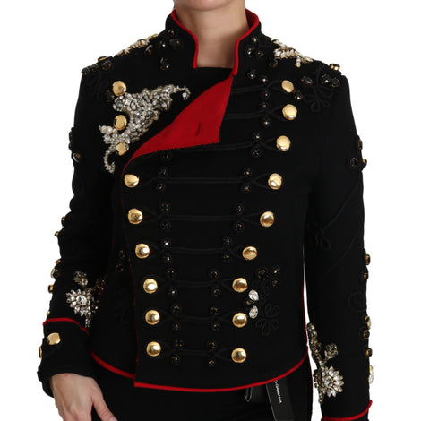 Dolce & Gabbana Black Wool Crystal Baroque Coat Jacket - Women - Apparel - Outerwear - Jackets - Dolce & Gabbana | Gethuda Fashion