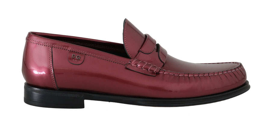 Dolce & Gabbana Pink Leather Loafers Moccasins Slides - Men - Shoes - Loafers Drivers - Dolce & Gabbana | Gethuda Fashion