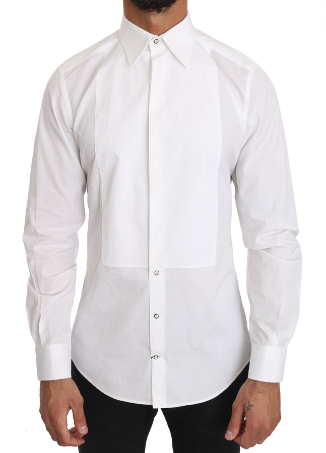 Dolce & Gabbana White Cotton Tuxedo GOLD Dress Shirt - Men - Apparel - Shirts - Dress Shirts - Dolce & Gabbana | Gethuda Fashion