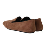 Dolce & Gabbana Brown Suede Slides Light Loafers - Men - Shoes - Loafers Drivers - Dolce & Gabbana | Gethuda Fashion