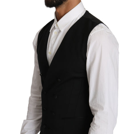 Dolce & Gabbana Gray Wool Double Breasted Waistcoat Vest