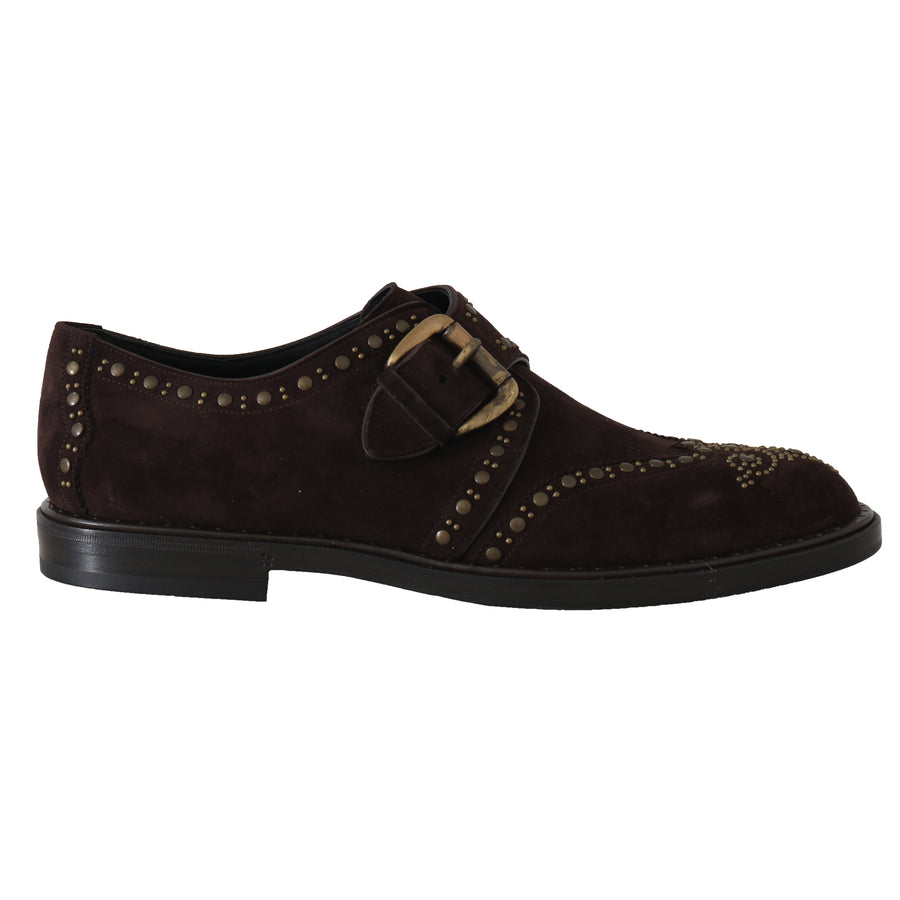 Dolce & Gabbana Brown Suede Monkstrap Silver Studded Shoes - Men - Shoes - Oxfords - Dolce & Gabbana | Gethuda Fashion