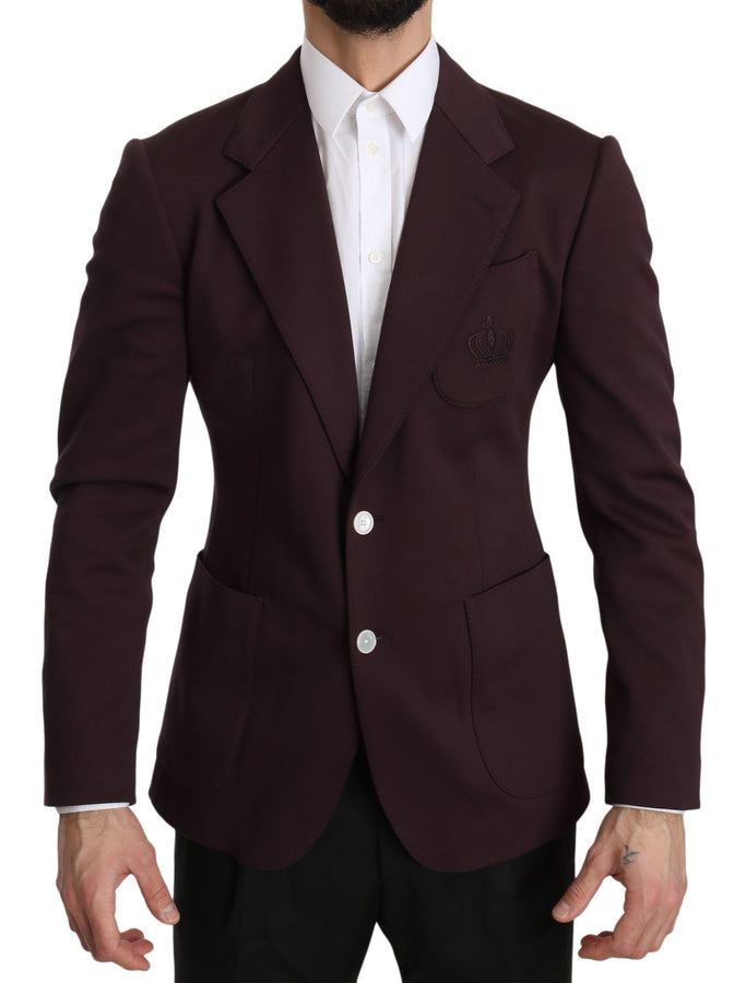 Dolce & Gabbana Maroon Crown Logo Slim Jacket Coat Blazer
