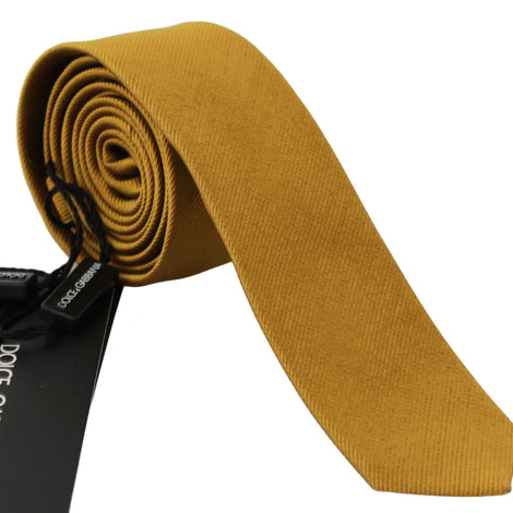 Dolce & Gabbana Solid Orange 100% Silk Wide Necktie Men Tie - Men - Accessories - Ties - Dolce & Gabbana | Gethuda Fashion
