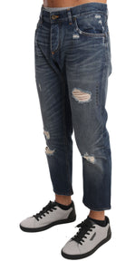 Dolce & Gabbana Blue Cotton Ripped Jeans Cropped Pants - Men - Apparel - Trousers - Dolce & Gabbana | Gethuda Fashion