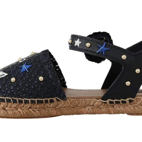 Dolce & Gabbana Blue Raffia Anchor Espadrilles Sandals - Women - Shoes - Flats - Dolce & Gabbana | Gethuda Fashion