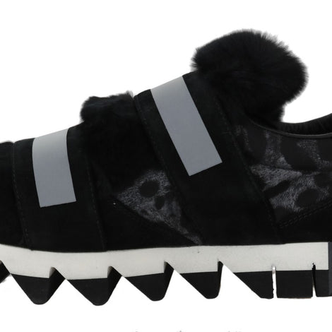 Dolce & Gabbana Leopard Leather Black Fur Sneakers