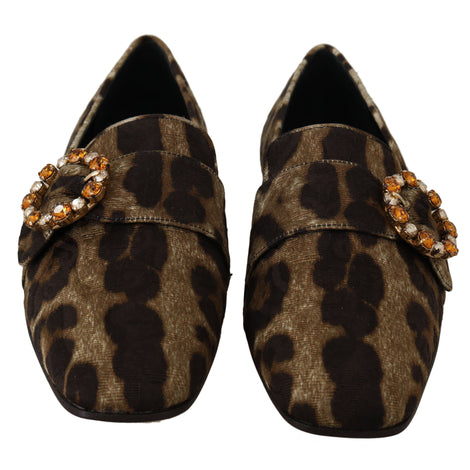 Dolce & Gabbana Brown Brocade Leopard Crystal Loafers - Women - Shoes - Flats - Dolce & Gabbana | Gethuda Fashion