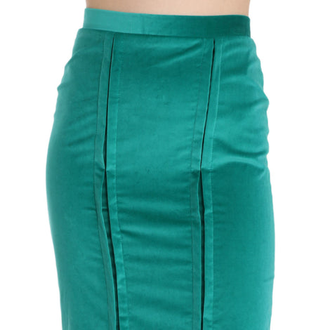 Green Solid Twill Knee Length Pencil Midi Skirt