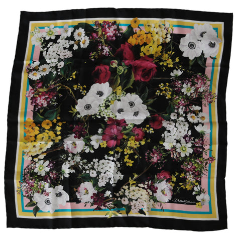 Black Floral Print Square Women Scarf