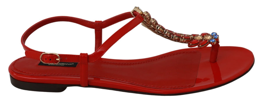 Red Leather Crystal Sandals Flip Flops Shoes