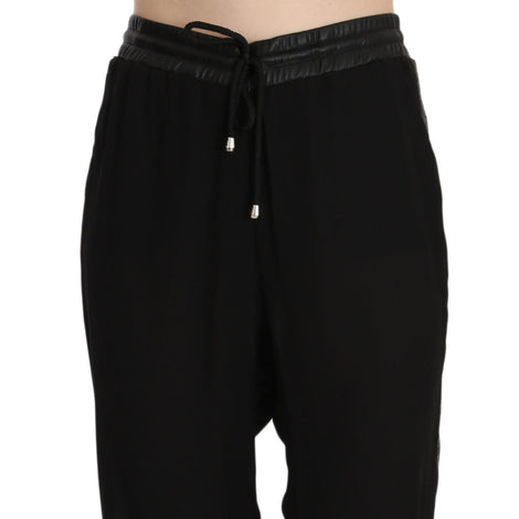 Black Polyester High Waist Cropped Trousers Pants