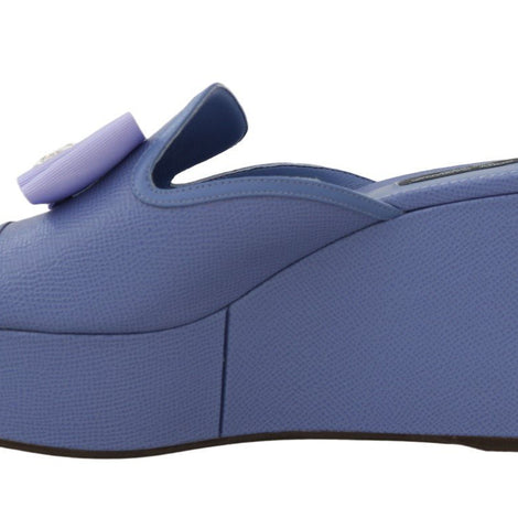 Dolce & Gabbana Purple Leather Crystal Wedge Slides - Women - Shoes - Wedges Espadrilles - Dolce & Gabbana | Gethuda Fashion