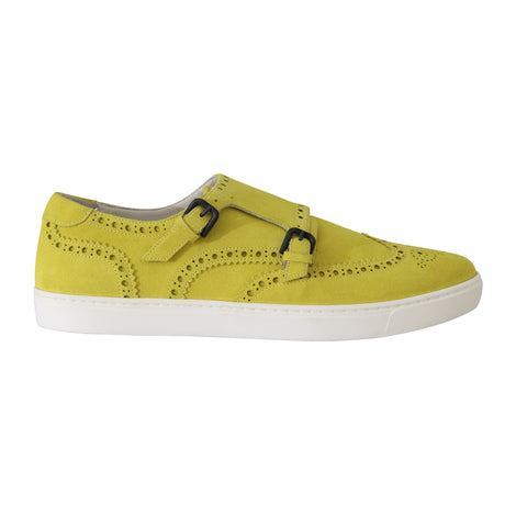 Dolce & Gabbana Yellow Leather Mens Casual Sneakers