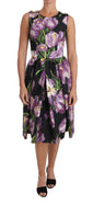 Dolce & Gabbana Black Purple Tulip Brocade Crystal Dress