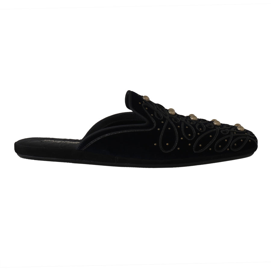 Dolce & Gabbana Blue Black Velvet Velvet Sandals Slippers - Men - Shoes - Sandals - Dolce & Gabbana | Gethuda Fashion