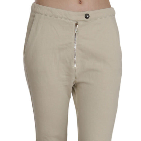 Beige Mid Waist 100% Cotton Skinny Cropped Pants