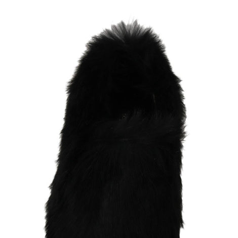Dolce & Gabbana Black Lapin Fur Slippers Loafers - Women - Shoes - Sneakers - Dolce & Gabbana | Gethuda Fashion