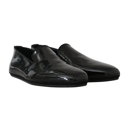 Dolce & Gabbana Black Patent Leather Slides Loafers - Men - Shoes - Loafers Drivers - Dolce & Gabbana | Gethuda Fashion