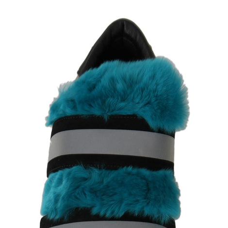 Dolce & Gabbana Black Leather Blue Fur Sneakers