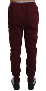 Dolce & Gabbana Bordeaux Cotton Gold Crown Bee Jogger Pants - Men - Apparel - Trousers - Dolce & Gabbana | Gethuda Fashion