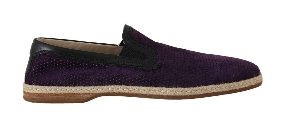 Dolce & Gabbana Purple Suede Perforated Loafers - Men - Shoes - Loafers Drivers - Dolce & Gabbana | Gethuda Fashion