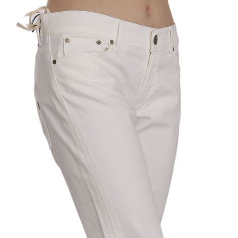 White Cotton Stretch Skinny Casual Denim Pants Jeans