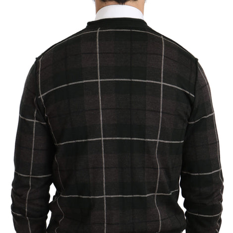 Dolce & Gabbana Black Plaid Cashmere Button Cardigan Sweater