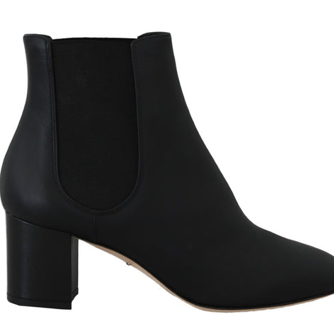 Dolce & Gabbana Black Leather Chelsea Ankle Boots -  - Dolce & Gabbana | Gethuda Fashion