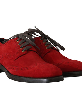 Dolce & Gabbana Red Leather Derby Dress Wingtip