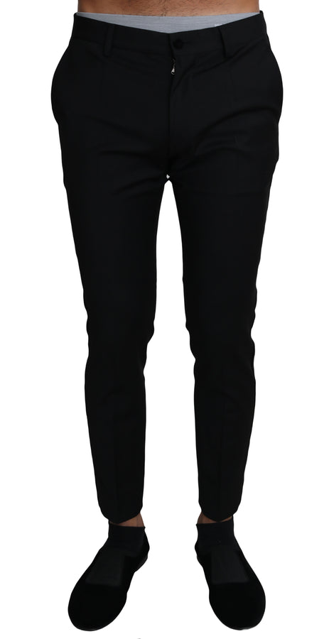 Dolce & Gabbana Black Wool Stretch Formal Trousers Pants - Men - Apparel - Trousers - Dolce & Gabbana | Gethuda Fashion