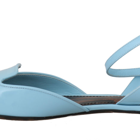 Blue Patent Leather Ankle Strap - Women - Shoes - Flats - Dolce & Gabbana | Gethuda Fashion