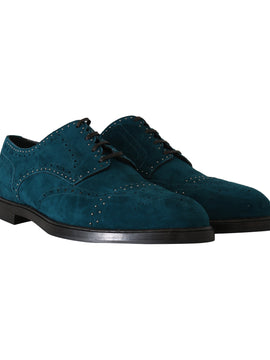 Dolce & Gabbana Blue Leather Derby Dress Wingtip Shoes