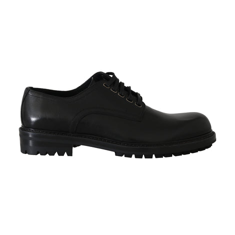 Dolce & Gabbana Black Leather Derby Dress Formal Shoes - Men - Shoes - Oxfords - Dolce & Gabbana | Gethuda Fashion