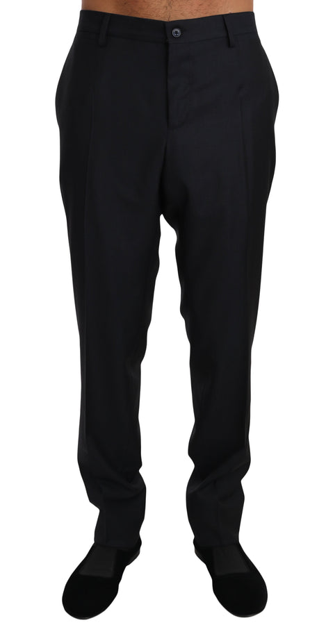 Dolce & Gabbana Black Wool Silk Dress Formal Trousers Pants - Men - Apparel - Trousers - Dolce & Gabbana | Gethuda Fashion
