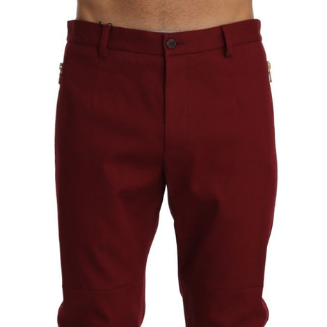 Bordeaux Wool Stretch Slim Trousers Pants - Men - Apparel - Trousers - Dolce & Gabbana | Gethuda Fashion