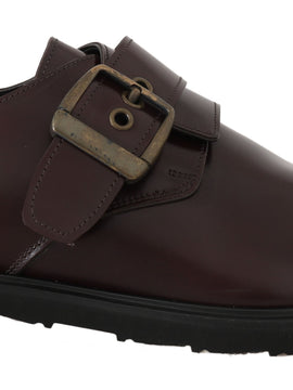 Dolce & Gabbana Bordeaux Leather Derby Monkstrap Mens Shoes