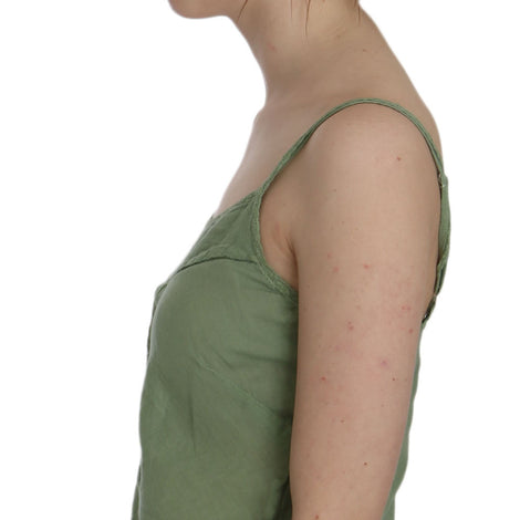 Green Silk Spaghetti Strap Tank Top Blouse - Women - Apparel - Shirts - Blouses - PINK MEMORIES | Gethuda Fashion