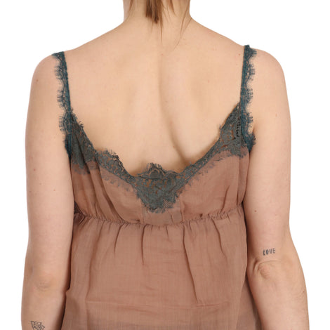 Brown Lace Spaghetti Strap Tank Top Blouse - Women - Apparel - Shirts - Blouses - PINK MEMORIES | Gethuda Fashion