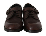 Dolce & Gabbana Brown Leather Derby Monkstrap Mens Shoes - Men - Shoes - Oxfords - Dolce & Gabbana | Gethuda Fashion