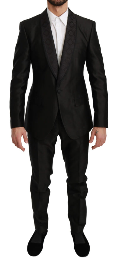 Black Slim Fit 2 Piece MARTINI Silk Suit