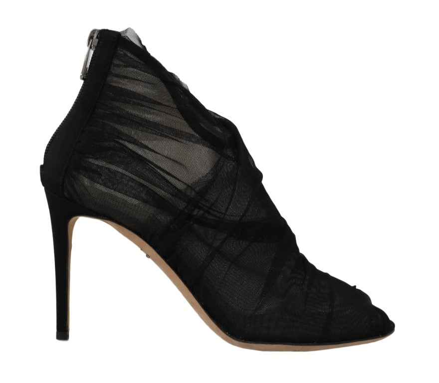 Dolce & Gabbana Black Tulle Transparent Ankle Boots - Women - Shoes - Pumps - Dolce & Gabbana | Gethuda Fashion