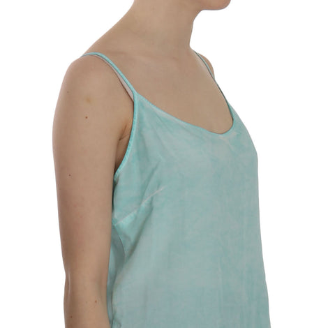 Ermanno Scervino Blue Sleeveless Spaghetti Dress Blouse - Women - Apparel - Shirts - Blouses - Ermanno Scervino | Gethuda Fashion