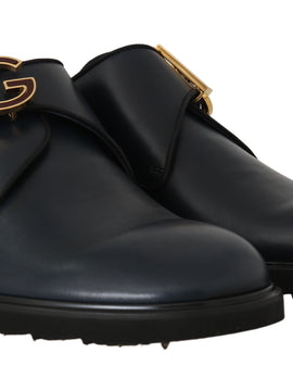 Dolce & Gabbana Blue Leather Derby Dress Monkstrap Shoes