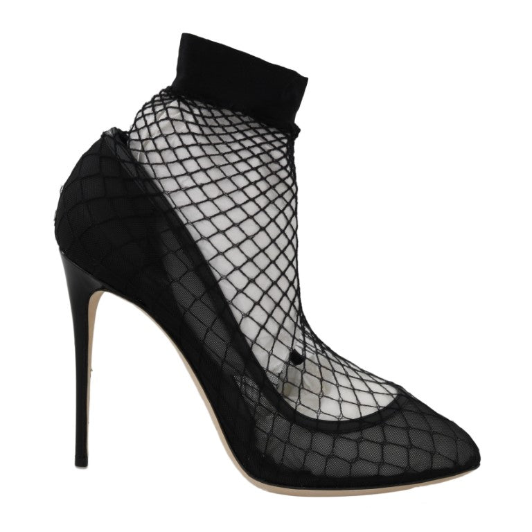 Dolce & Gabbana Black Leather Transparent Net Sandals