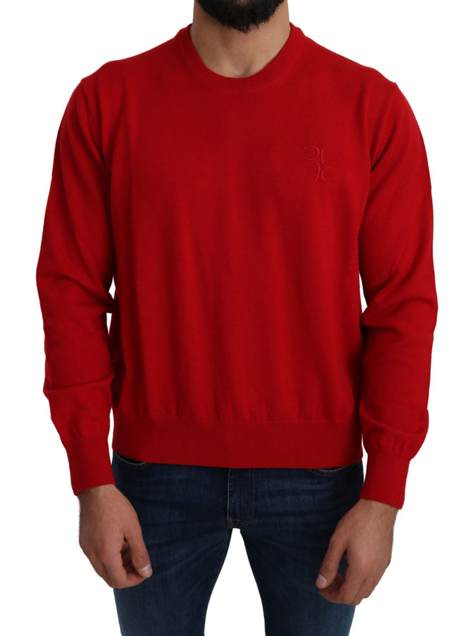 Red 100% Wool Logo Crewneck Pullover Sweater