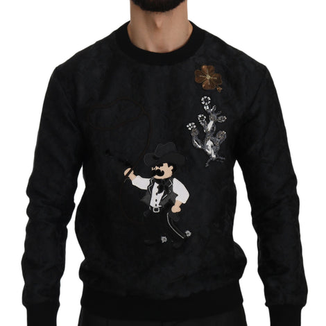 Dolce & Gabbana Black Brocade Cowboy Embroidered Sweater - Men - Apparel - Sweaters - Pull Over - Dolce & Gabbana | Gethuda Fashion