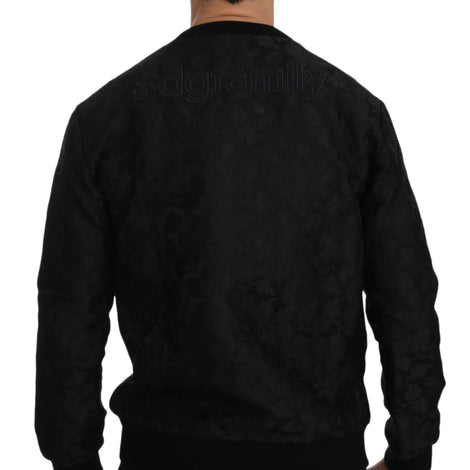 Dolce & Gabbana Black Brocade Cowboy Embroidered Sweater